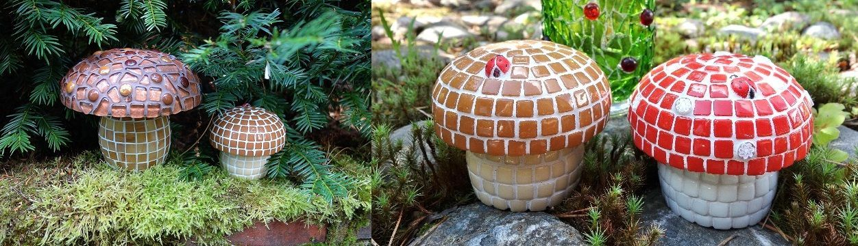 Make mosaic mushrooms