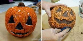 Mosaik av Halloween-pumpor.