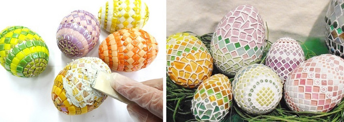 We have a wide selection of different sizes of styrofoam eggs, which are easy to cover with different glass mosaics. These easter eggs are made of micro mosaics, millefioris, different ottoman glass mosaics and different 10 mm glass mosaics.