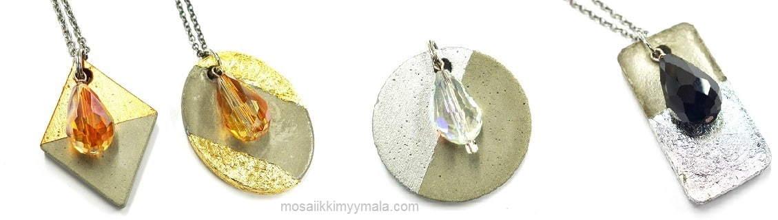 Vala korubetonilla korut suoraan korumuotteihin ja maalaa tai koristele korut helmillä tms.
