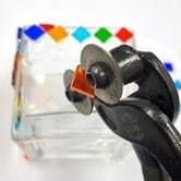 Vacker glasmosaik lyktor.