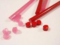 Glass rods, Rosso Porpora, 2 pcs