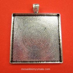 Pendant base, square 38 mm, c. silver