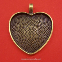 Pendant base, Heart, c. bronze