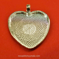 Pendant base, heart, c. silver