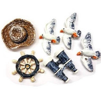 Polyresin objects: Beach, 2-4 cm, 6 pcs