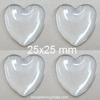Cabouchon, heart, 25 mm, 4 pcs