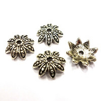 Bead cap, Star, 4 pcs