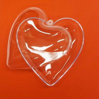 Plastic heart, crystal, 10 cm, 2 parts
