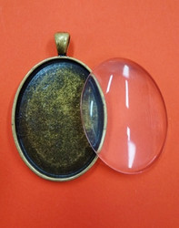 Pendant base, with glass cabochon, c. bronze