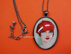 Pendant base, with glass cabochon, c. old silver