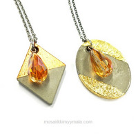 Glass Polished bead Drop, copper gold