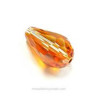 Facettslipad, droppformad glaspärla, koppar/guld
