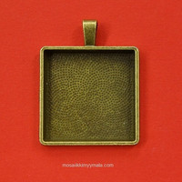 Pendant base, 25 mm, square, c. bronze