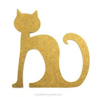 MDF Cat, sitting, 25 cm