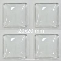 Cabochon, fyrkant, 20 mm, 4 st