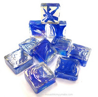Form Glass, Square, Smoke Blue, 20 pcs