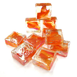 Form Glass, Square, Red-Orange, 20 pcs
