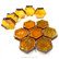 Form Glass, Hexagon, Amber, 12 kpl