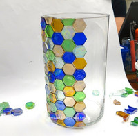 Form Glass, Hexagon, Royal Blue, 12 kpl