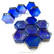 Form Glass, Hexagon, Royal Blue, 12 pcs
