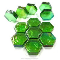 Form Glass, Hexagon, Green, 12 pcs