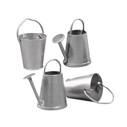Metallic watering can + bucket, 4 pcs