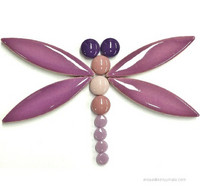 Ceramic ellipse, Purple, 8 pcs