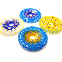Millefiori, ring, 4 pcs, mix