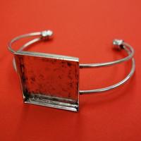Armband, kvadrat, 25 mm, silverfärgat