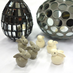 Polyresin Rabbits, 6pcs