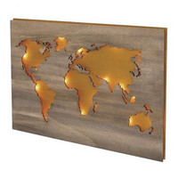 Wood world map, 42x29.7cm