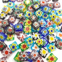 Millefiori beads, square, 10 pcs, Mix