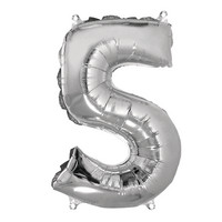 Foil balloon, number 5 silver