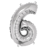 Foil balloon, number 6 silver
