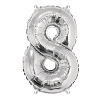 Foil balloon, number 8 silver