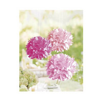 Paper pom-poms, 3 st, 35cm ø pink mix