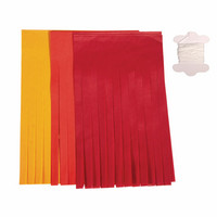 Decorationsband, Tofsar, red mix, 3 m