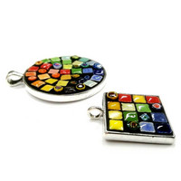 Mosaic jewerly 2 pcs, silver, DIY