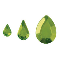 Akryl - strassdroppar, Light green, 310 st