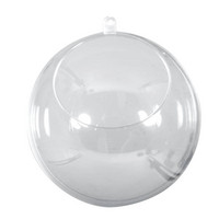 Plastic ball, two-parts, 8cm ø crystal, 6 pcs