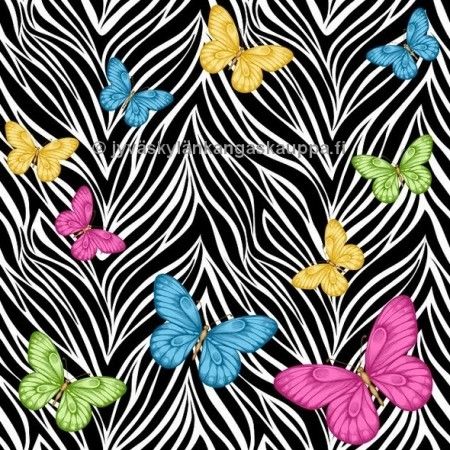 Colorful butterflies digiprintti trikoo per 10 cm ***