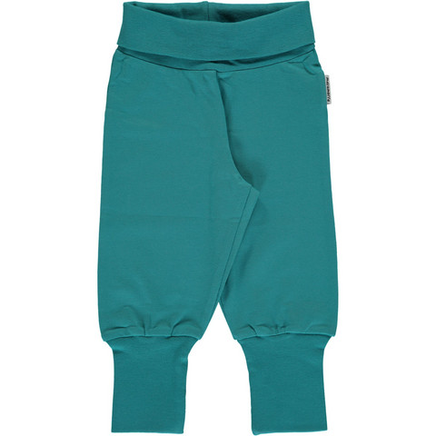 Maxomorra pants rib Soft Petrol 74/80
