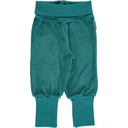Maxomorra pants rib VELOUR Soft Petrol 86/92