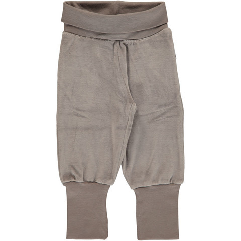 Maxomorra pants rib VELOUR Light grey melange 62/68