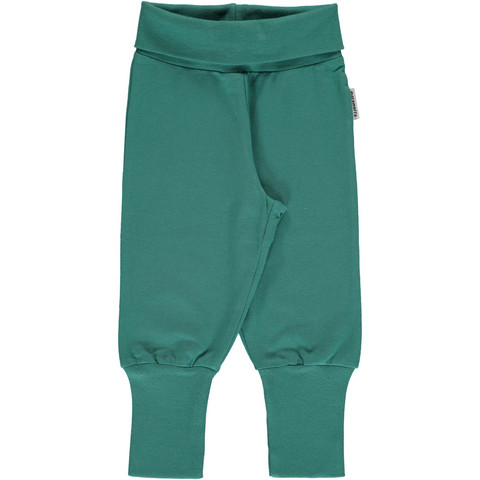 Maxomorra pants rib Green Petrol 74/80