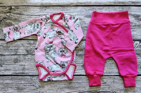 Body ja housut setti pinkki kissa pinkit housut koko 44