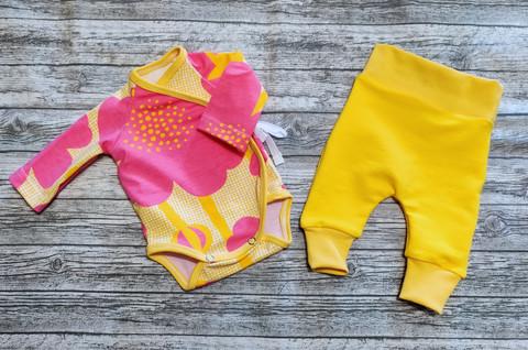 Body ja housut setti kukka pinkki-keltainen koko 40