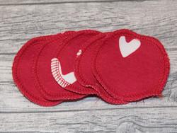 Pesulaput 5 kpl setti trikoo sydän punainen MINI