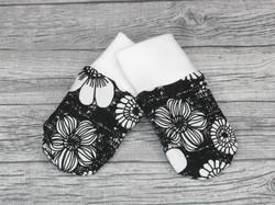 Trikootumput kukat mustavalkoinen 0-6 kk
